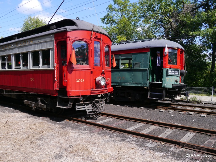 Cars 20 and 715 meet at Coleman. (Photo by David Sadowski)