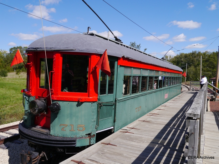North Shore 715 at the high-level platform at Blackhawk. The museum line was extended here in 2002. (Photo by David Sadowski)