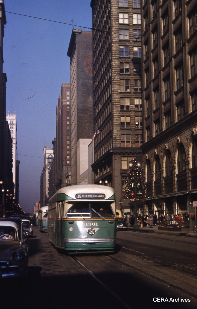 Our next book (B-146) will be called Chicago Streetcar Pictorial: the PCC Car Era 1936-1958, to be published in Spring 2014. (Photo by James J. Buckley, CERA Archives)