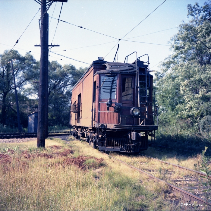 "CNS&M line car 606 at North Chicago Junction in July 1962. (Photographer unknown) Our 75th Anniversary program will feature rare films of the North Shore Line. According to Don's Rail Photos, ""606 was built by Cincinnati in January 1923, #2620. In 1963 it became Chicago Transit Authority S-606 and burned in 1978. The remains were sold to the Indiana Transportation Museum."""