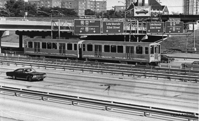 """September 28, 1969 - """"New CTA trains, Dan Ryan. One of the new CTA rapid transit trains that went into service today, passing under the 31st street bridge, heading north."""" (Photo by Pete Peters)"""