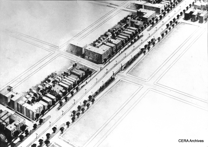 """February 8, 1938 - """"An architect's sketch of proposed overpasses to be built at half-mile intersections... the proposed Congress street improvement under a plan for two highways through the West Side which has been recommended to Mayor Kelly by his committee of six engineers. They proposed that the second route, an elevated superhighway, be constructed in Kinzie street or Lake street. They suggested converting the Lake Street Rapid Transit structure into a motor road. Immediate action was urged by aldermen and property owners today."""" (Photographer unknown)"""