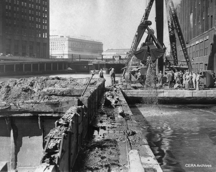 """September 22, 1947 - """"End Subway Hunt. The lost is found! Armed with steel claw, crane strikes pay dirt after three swings and locates remains of unused 200-foot tunnel in river near Congress st. Tube will be sealed to prevent interference with new Congress st. subway."""" (Photographer unknown) What tunnel was this?"""