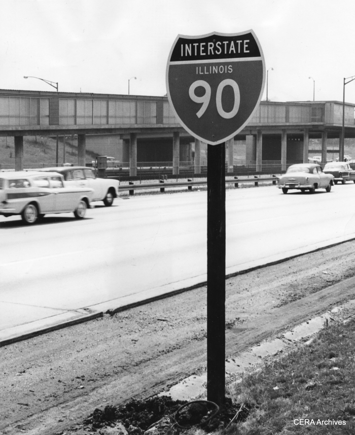 """June 5, 1959 - """"New sign on the Congress Street expressway on the west bound side."""" (Photo by Luther Joseph) The Congress (now Eisenhower) expressway was planned before the Interstate Highway System, but eventually became part of it."""