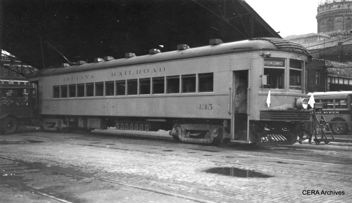 "September 10, 1938 - Indiana Railroad car 435 in Indianapolis. ""Last car north (to Kokomo), 3:15 pm Last day."" (Photo by George Krambles)"