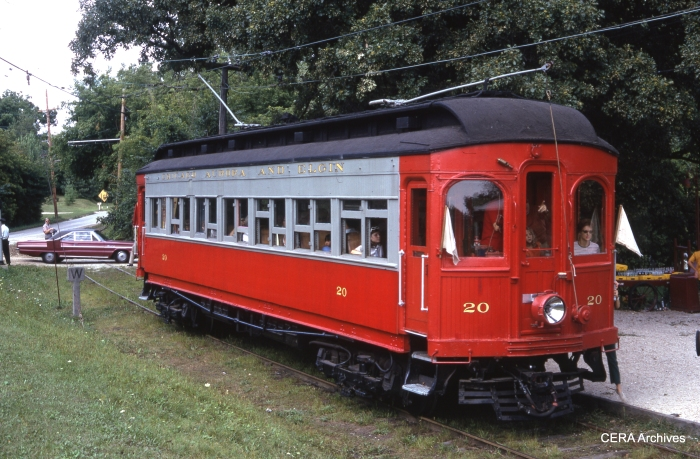 CA&E 20 at the Fox River Trolley Museum in August 1976. (Photographer unknown)