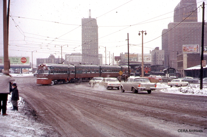 CNS&M Electroliner on January 20, 1963 in Milwaukee, during the last full day of operation. (Photographer unknown)