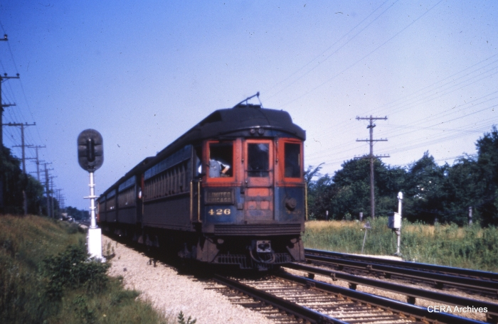 CA&E 426 eastbound near First Avenue in Maywood in 1952. (Unknown photographer)