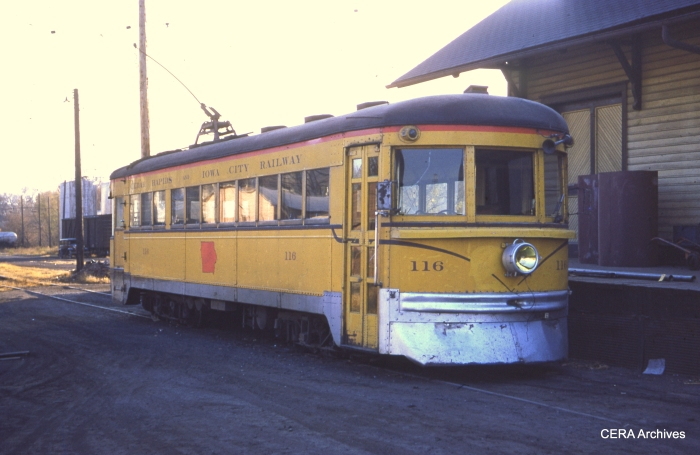 CRANDIC 116 (ex-C&LE) in Iowa City on October 26, 1952. (Photographer unknown)