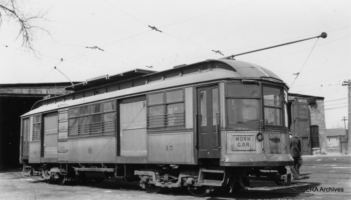 C&WT line car 15 in a photograph by Lamar M. Kelley, an early CERA member who died in 1947. This picture may date to the late 1930s.