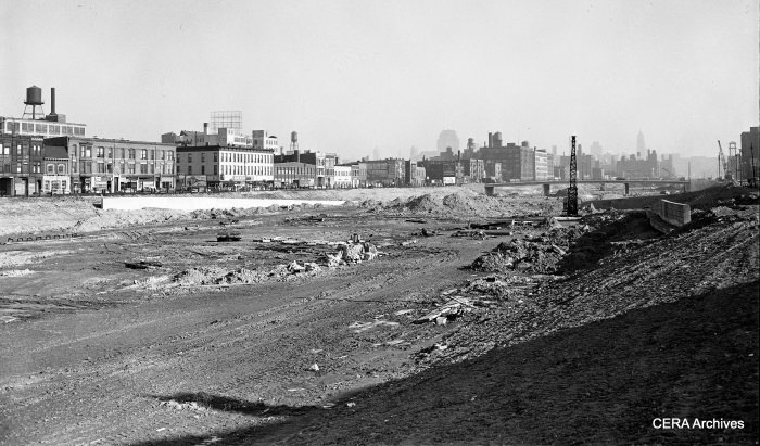 The Congress expressway under construction, circa 1954. We are looking east from about Ashland (1600 west). The CTA temporary trackage on Van Buren is at the left. (Photographer unknown)