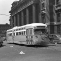 "Mystery Photo #7 - ""This car is eastbound at Madison and Canal passing North Western Station. This car must have been freshly delivered as it has a CSL logo on the side. The 4194 was in a group of cars delivered between September 1947 and March 1948. I would place the date around 1948 or very early 1949."" (Unknown photographer) (Picture taken in August 1948- ed.)"
