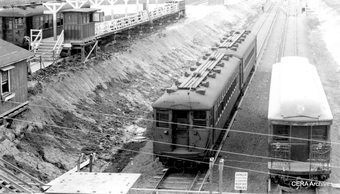 "Mystery Photo #13 - ""This is at Roosevelt Rd. on the Westchester line showing the temporary terminal in place when the line was being extended to 22nd and Mannheim. The extension opened on 12-01-30 so my guess for the date of the photo is late 1930 or possibly early 1931."" (Unknown photographer)"