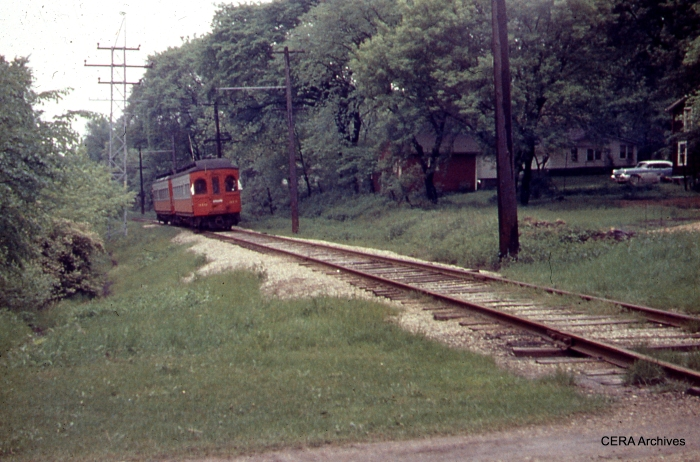 CA&E 310-309 in Batavia on CERA Fantrip #71 (May 19, 1957), about six weeks before the suspension of passenger service. Some have compared the Batavia branch to the main line at the Illinois Railway Museum. (Photographer Unknown)