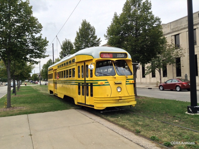 Cincinnati cars actually used two trolley poles, much as trolley buses do. The city was afraid that grounding the electricity through the track would somehow electrify underground pipes. (Photo by Diana Koester)
