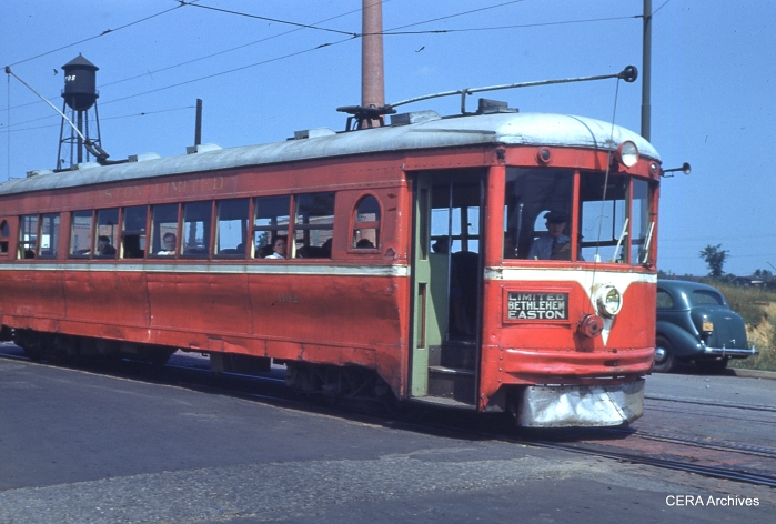 LVT used four Cincinnati curved-side cars (ex-Dayton & Troy) on the Easton Limited interurban from 1939-49. Here is one towards the end of service, looking a bit worse for wear. (Photographer unknown)