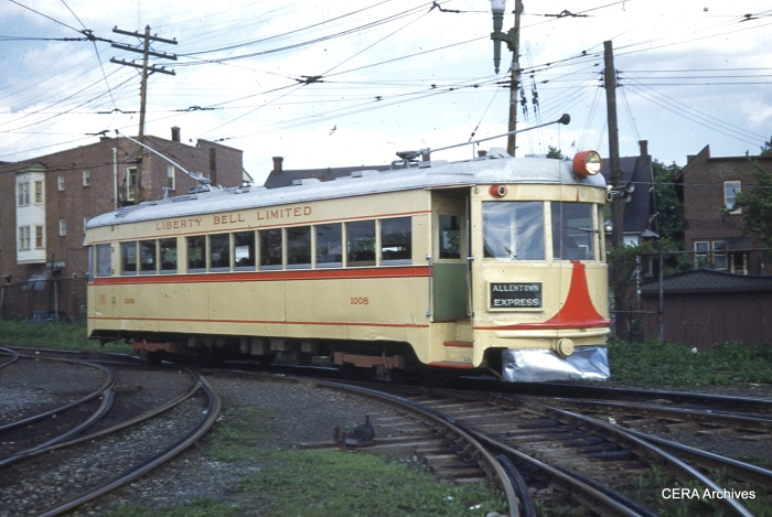 An LVT 1000-series car (ex Cincinnati & Lake Erie). These cars provided the bulk of Liberty Bell Limited service from 1939 until abandonment in 1951. (Photographer unknown)