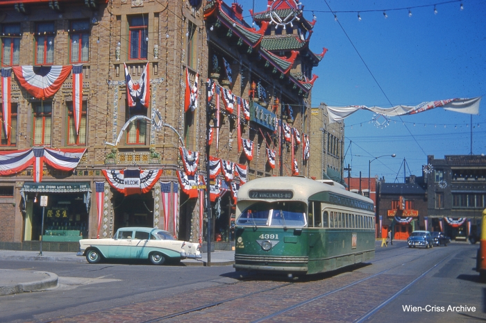 This photo of CTA 4391 in Chinatown appears on CERA's 2014 membership card. The only surviving Chicago postwar PCC car is now at the Illinois Railway Museum. (Photo by Charles L. Tauscher, Wien-Criss Archive)
