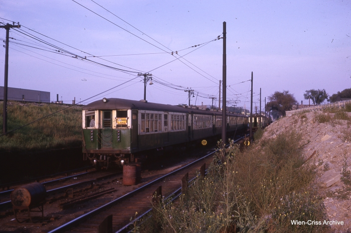 The end of the line just west of Harlem Avenue in August 1962. Here, the embankment had to be built up in order to create the new CTA yard. (Photo by Charles L. Tauscher, Wien-Criss Archive)
