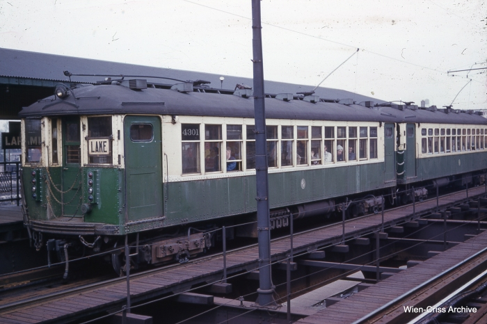 CTA 4301 with poles up at Laramie on May 7, 1961. (Photo by Charles L. Tauscher, Wien-Criss Archive)