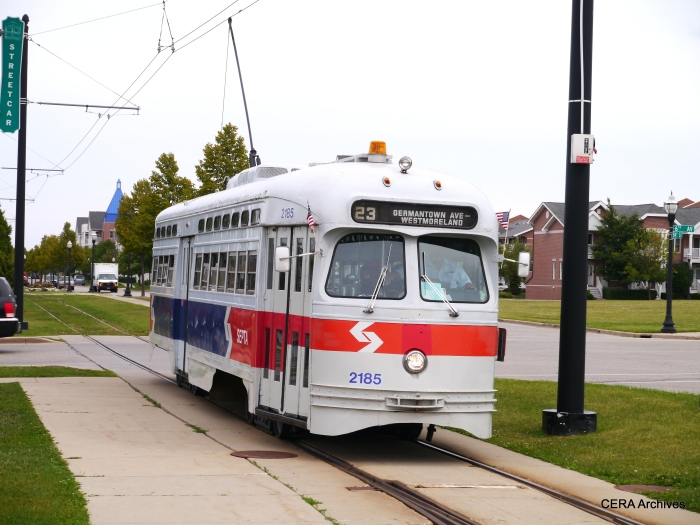 The Philadelphia car, still in SEPTA paint. Other Kenosha cars are ex-Toronto, and are painted in tribute to various cities that had PCCs. (Photo by David Sadowski)
