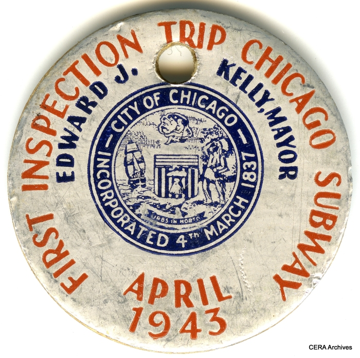 "Just prior to the mayoral election, the City of Chicago held an ""inspection trip"" in the still-uncompleted State Street subway, with only one track in service. Here is a souvenir pin from that event."