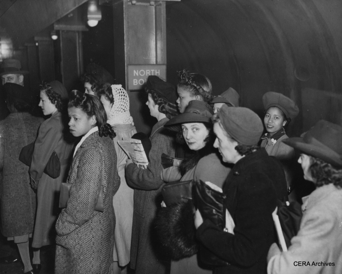 "October 18, 1943 - ""Crowds standing in the subway waiting for their trains."" (Photo by George Kotalik)"