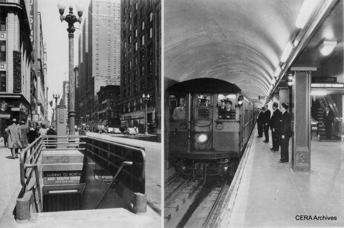 Chicago's State Street subway as it looked upon opening in 1943. (Photographer unknown)