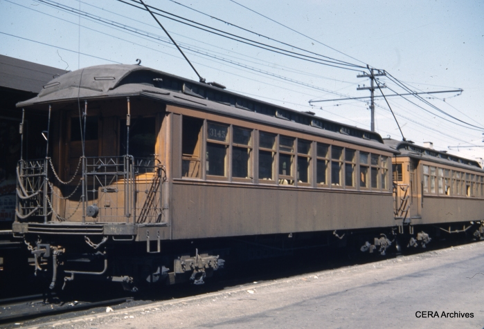 """Wooden """"L"""" car 3145 at Marion and Lake in August 1951. (Photographer Unknown)"""
