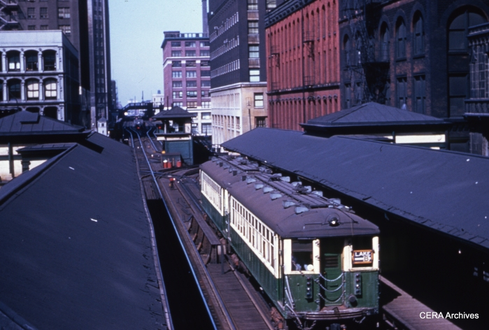 CTA Lake St. 4000s (led by 4442) circle the Loop on September 9, 1958. (Unknown Photographer)