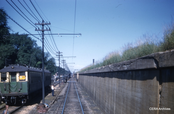"""That wall looks pretty close in this July 5, 1960 view from the """"railfan seat."""" (Photographer Unknown)"""