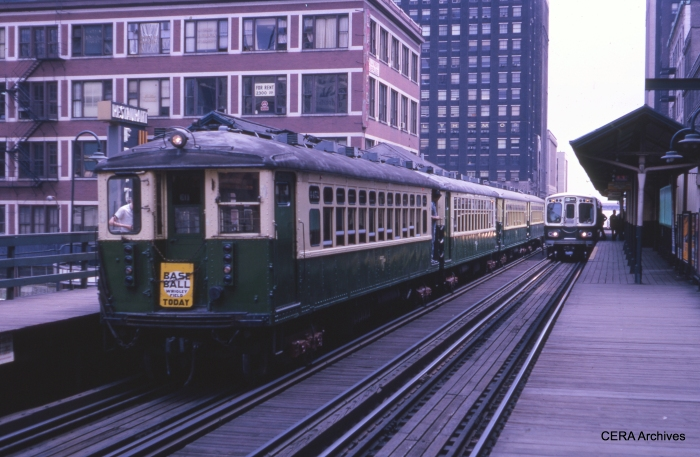 CTA 4452-4451-4270-4269 meet 2140-2141 at State and Lake at 12:35 pm on June 26, 1966. (Unknown Photographer)