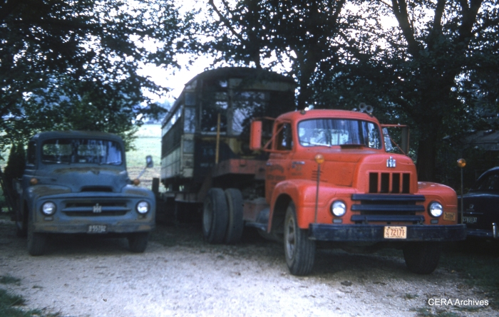 141 being delivered to the farm owned by Mrs. Lena Gnas. (Photo by Charles L. Tauscher)