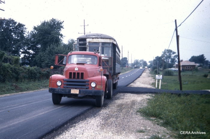 West Towns car 141 heading out to Downers Grove in September 1959. It joined the ERHS collection there before heading to IRM in 1973. (Photo by Charles L. Tauscher)
