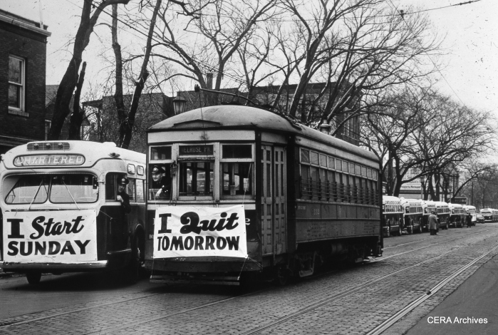 Lake Street, February 14, 1947. The Madison St. car line quit the following day (Saturday), with bus service starting on Sunday. (Photographer Unknown)