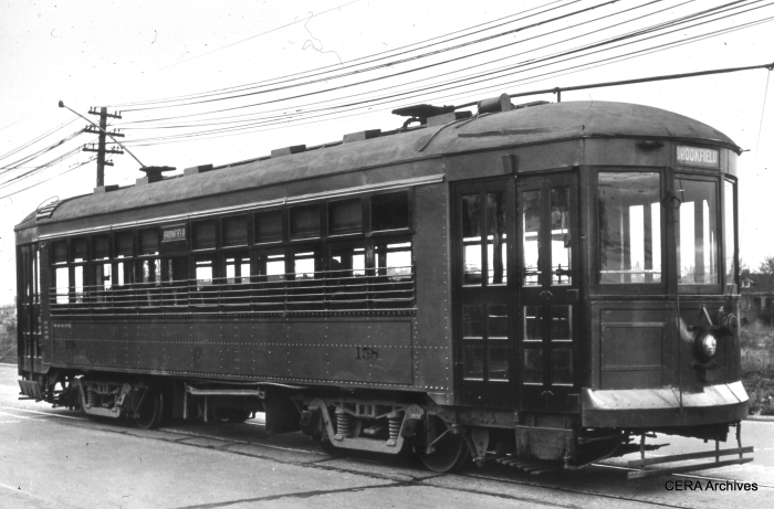 Car 158 was built by Cummings Car & Coach in 1927, using trucks, motors, and controls from scrapped 500-series cars. It was junked in 1948. (Photographer Unknown)