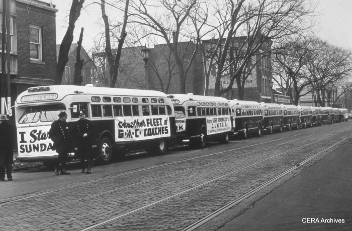 On February 14, 1947, West Towns posed some of their new buses on lake Street. Two days later, buses replaced streetcars on the Madison St. line. (Photographer Unknown)