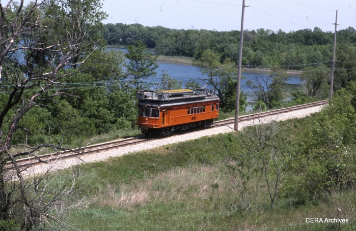 Line Car 1100 at Hicks on May 27, 1988. (Photo by David Sadowski)