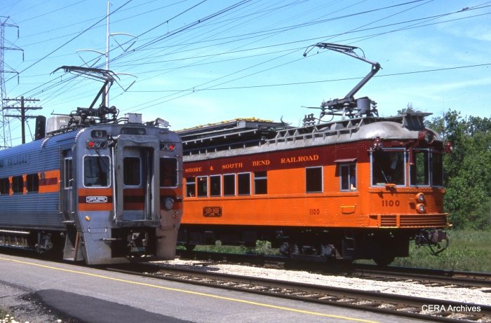 The old and the new CSS&SB 43 meets 1100 at Dune Park on May 27, 1988. (Photo by David Sadowski)