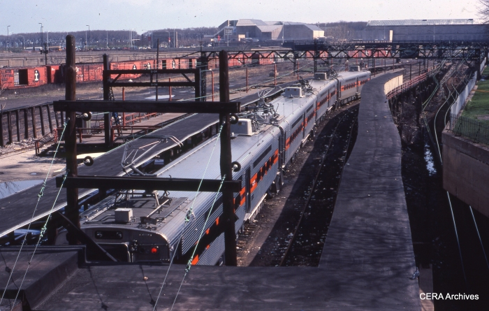 The then-new Nippon Sharyo cars at Randolph Street station in May 1983. This is now the site of Millennium Park, built over the tracks. (Photo by David Sadowski)