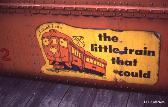 These charming decals, designed by Dale Fleming, were put on South Shore cars around 1975. (Photo by David Sadowski)