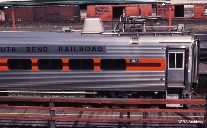 The then-new South Shore cars, gleaming, in May 1983. (Photo by David Sadowski)