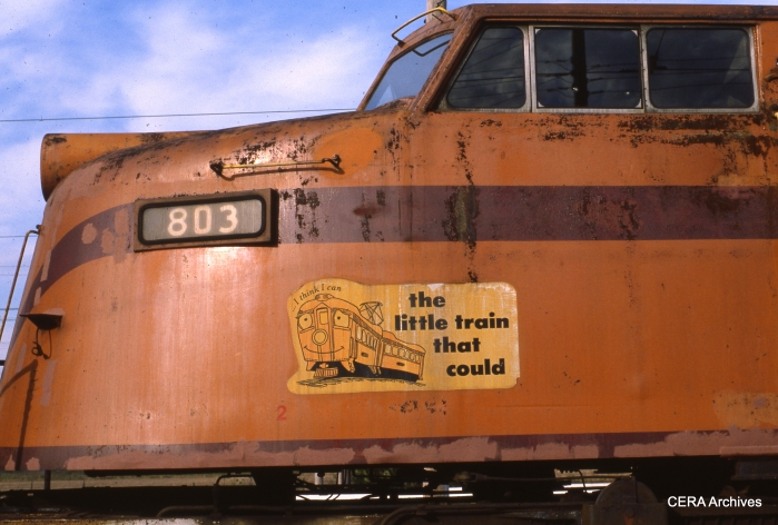 """Little Joe"" locomotive 803 in October 1983. (Photo by David Sadowski)"
