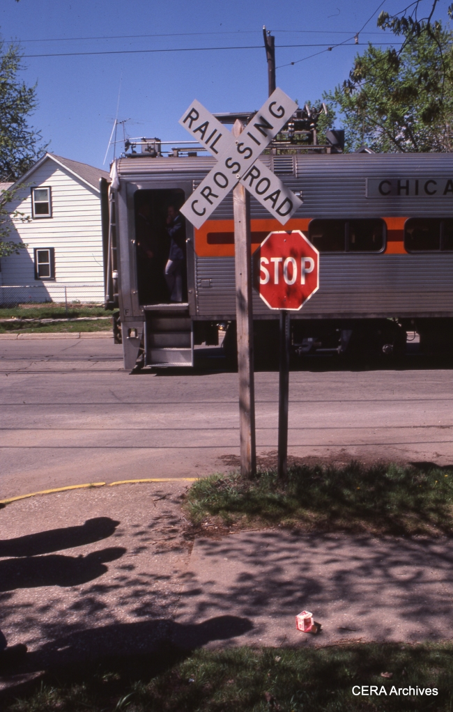 Michigan City street running, CERA fantrip, April 28, 1985. (Photo by David Sadowski)