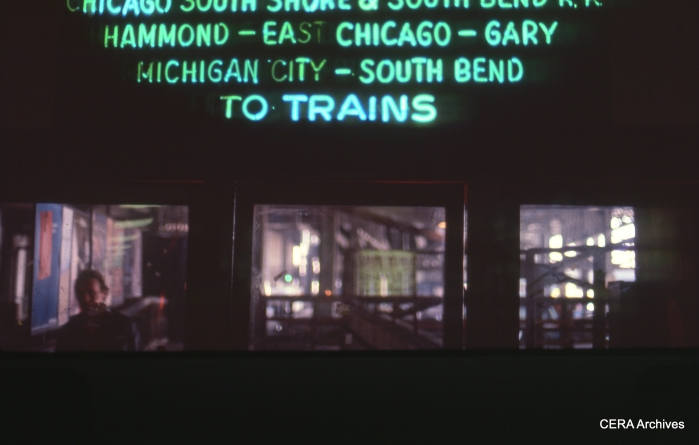 Randolph Street station in March 1985. That neon sign is now out at the Illinois Railway Museum. (Photo by David Sadowski)