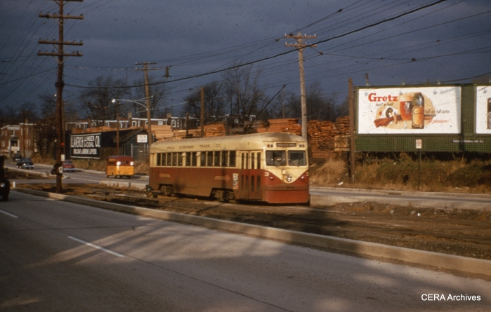 Brilliner 3 along West Chester Pike, near Llanerch Depot, on November 26, 1954. (Photo by Raymond DeGroote)