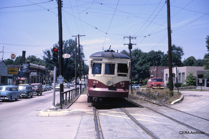 Philadelphia Suburban car 63 at Llanerch Junction on May 30, 1964. (Photographer unknown)