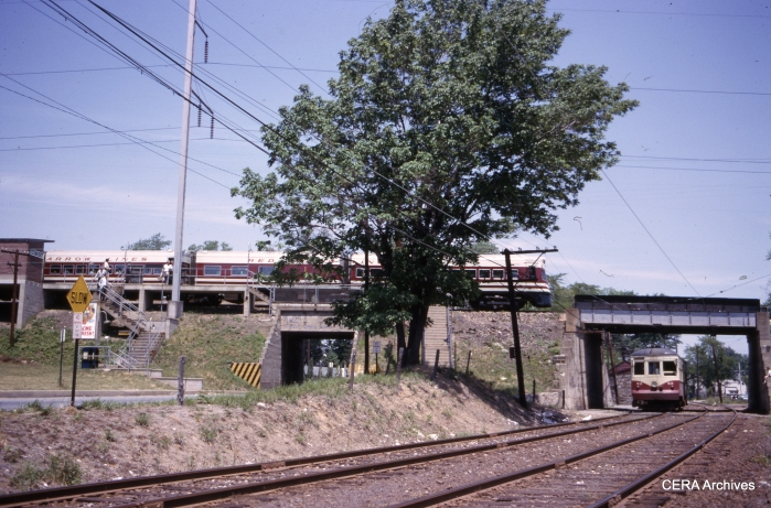 One of the Red Arrow Liberty Liners meets car 63 at Ardmore Junction on May 30, 1964. (Photographer unknown)