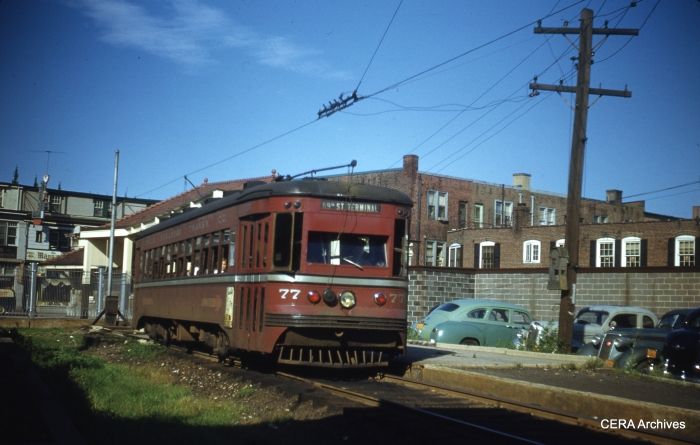 PSTCo 77 at the Ardmore Terminal on July 23, 1949. (Photo by James J. Buckley)