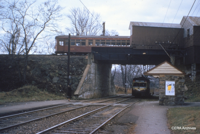 """That's P&W 'Strafford"""" car 168 above, and I think that's Red Arrow car 18 below at Ardmore Junction on November 26, 1954. (Photo by Raymond DeGroote)"""